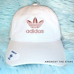 adidas Trefoil White And Pink Relaxed Dad Hat Cap